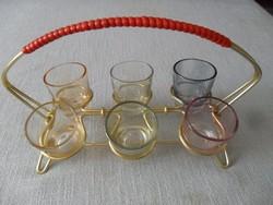 Retro színes ,lüszteres pálinkás pohár készlet alu tartóban