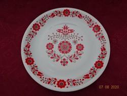 Alföldi porcelán piros népi mintás falitányér.