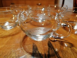 6 db üveg csésze, nagyon szép, körben mintás darabok, hibátlan állapotban!