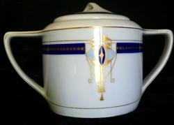 Art Deco cukortartó Kaestner Saxonia német porcelán