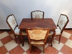 Neobarokk szalon asztal 4 db székkel
