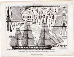 Gőzhajó, korvett, egyszín nyomat 1875 (12), Brockhaus, eredeti, csavarkerekes, árboc, vitorla, hajó