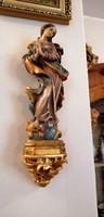 Antik, Kígyótipró Szűz Mária Szűzanya szobor kézzel faragott, festett, aranyozott falikonzollal