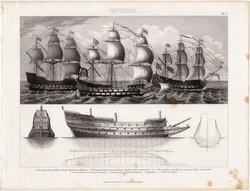 Royal Sovereign, egyszín nyomat 1875 (5), német, Brockhaus, eredeti, hadihajó, fregatt, angol, hajó
