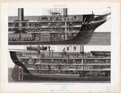 Elisabeth korvett metszete, egyszín nyomat 1875 (23), német, Brockhaus, eredeti, hajó, északnémet