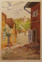 TURMAYER SÁNDOR (1879 - 1953) Utcai látkép 1920-as évek10x17 cm.