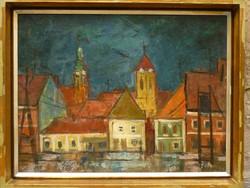 Eladó Hegyi György: Szentendre című olajvászon festménye
