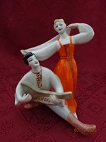 Orosz porcelán figura, néptáncos páros, magassága 16 cm.