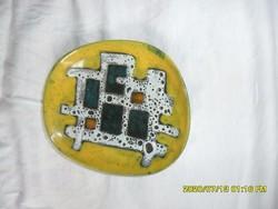 Pál Ferenc sárga absztrakt retro tál