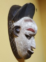 Antik Afrikai Kézzel Faragott, Festett Maszk