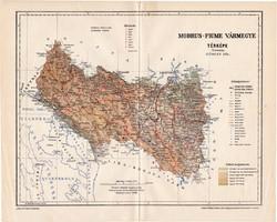 Modrus - Fiume vármegye térkép 1896 (7), lexikon melléklet, Gönczy Pál, 23 x 29 cm, megye, Posner K.