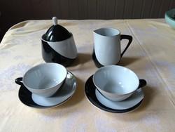Hollóházi retro 2 szem. mokkás kávés készlet, Pingvin, Schrammel Imre tervezte