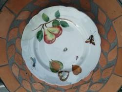 Antik tál, tányér, gyümölcs, körte, bogarak stb kézifestett Herend.  Jelzés