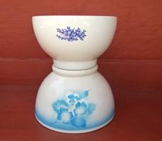 2 db Gránit virágos talpas tál, nosztalgia darab, paraszti dekoráció, Egyben eladók