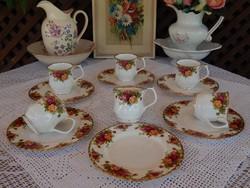 """ROYAL ALBERT Old Country Roses """"  teás bögrés reggeliző készlet ritka nagy süteményes tányérral"""