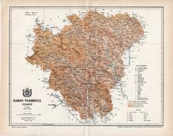 Sáros vármegye térkép 1894 (5), lexikon melléklet, Gönczy Pál, 23 x 29 cm, megye, Posner Károly