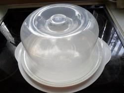 Műanyag torta tartó, szendvics tartó praktikusan dupla tálcával