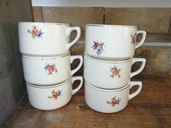6 db Gránit virágos csésze, csészék, egyben eladók