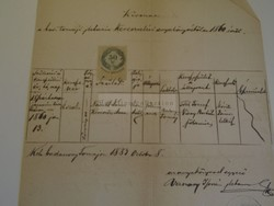 D172660 Régi irat Badacsonytomaj  Németh Rozália 1860 - Vaszary István 1883