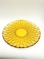 Napot formázó, borostyán színű retro üvegtál, tálca, nagytányér, tálaló - midcentury modern design