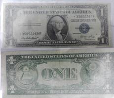 1935-ös csillagos, certifikált, kékpecsétes, USA 1 Dollar