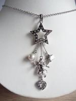 Ezüst nyaklánc angyalka, gyöngy és csillag függőkkel
