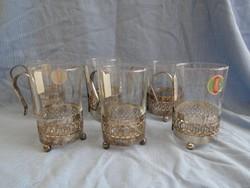 Hőálló teás,  poharak nyszillver ezüst  tartóban nem használt antik darabok hibátlan cca 2 dl