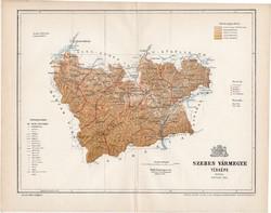 Szeben vármegye térkép 1893 (4), lexikon melléklet, Gönczy Pál, 23 x 30 cm, megye, Posner Károly