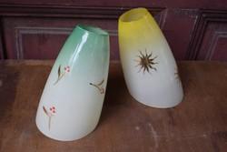 Lámpabúra retro stílus festett mintás színes üveg  19 x 10,5 cm , 2 darab