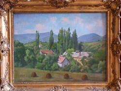 Eladó Bánovszky Miklós: Kilátás Pomázról a csobánkai hegyekre, olajvászon, Képcsarnokos festménye