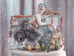 Eredeti antik nápolyi Capodimonte borász idősember porcelán