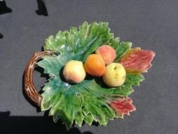 Majolika kínáló, asztalközép gyönyörű gyüjteménybe,Őszi színek! RDZ. Znaim. Őszi levél hatalmas