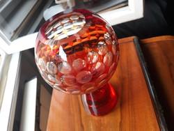 Retro vastag üvegfalú kristály váza, art deco stílusban, csiszolt pöttyökkel