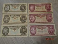 Papír 50 és 100 forintosok