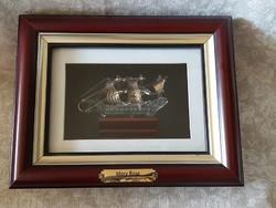 Mary Rose aranyozott üveghajó képkeretben