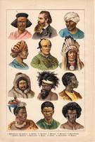 Embertípusok, etnográfia, fajok, litográfia 1886, eredeti, 21 x 32 cm, német nyelvű, népfaj, nép