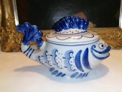Jelzett Orosz porcelán, vigyorgó hal cukortartó