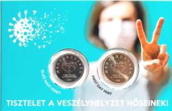 TISZTELET A HŐSÖKNEK 2020 - Első napi forgalmi érmepár MNB dísztokban UNC