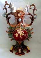 Antik nagyméretű Steidl Znaim  historizáló majolika váza
