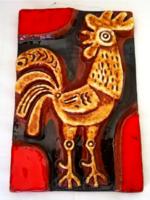 Ritka! Borsódy Ágnes:- iparművész kerámia kakasos falikép