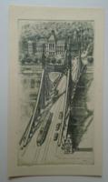 G029.98  Rézkarc - Szabadság híd - Budapest - Vertel József (1922-1993)