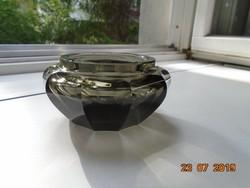 Muránói tíz szögletes fazettált vastagfalú füstszínű  díszüveg