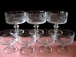 Gyümölcsmintás talpas pezsgős, fagyis, koktélos pohár készlet, Italy