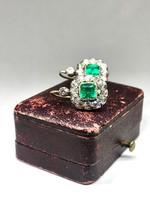 Antik Smaragd Fülbevaló Pár