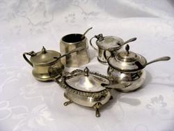 Antik, ezüstözött, asztali sótartó, fűszeres, vagy fűszerkrémes edények, darabonként megvehetőek
