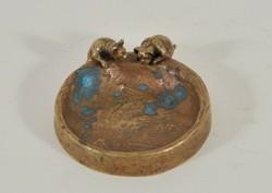 Antique bronz hamutál francia bulldogokkal, c 1910