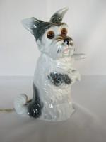 Porcelán kutya lámpa