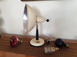 Retro régi fémbúrás asztali lámpa loft industrial infralámpa mid century