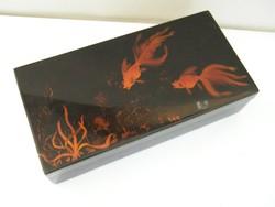 Fekete lakk fedeles doboz festett hal motívumos