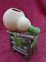 Különleges tök formájú porcelán  gyertyatartó, magassága 16 cm.